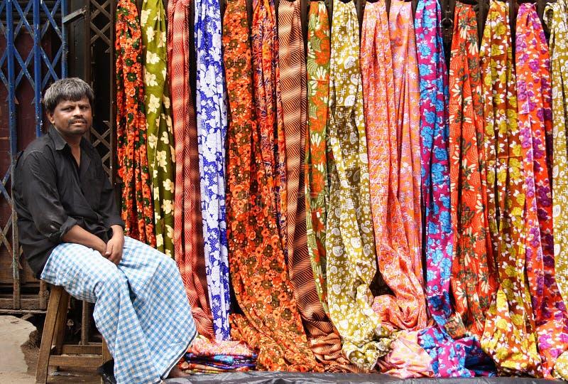 Sari seller royalty free stock photo