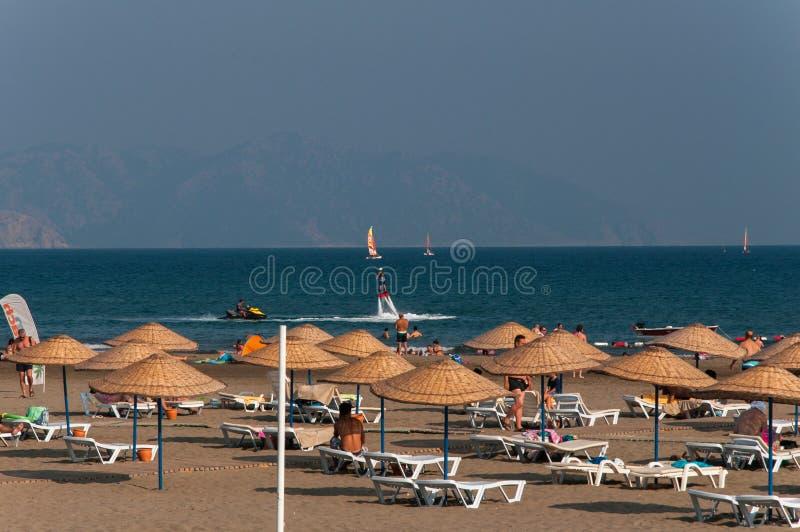 Sarigerme strand i Turkiet arkivfoto