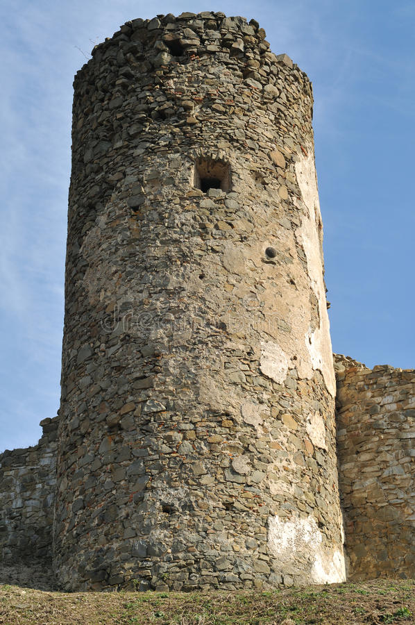 Saris castle tower. Ruins of Saris castle defence tower royalty free stock image