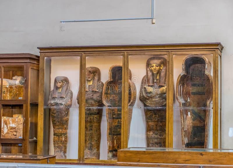 Sarkofag av pharaohs och adelsmannar i det egyptiska museet fotografering för bildbyråer