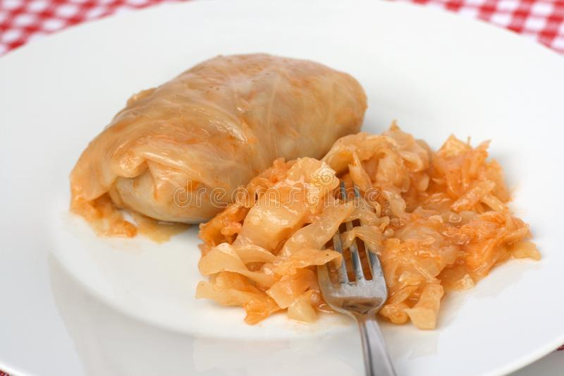 Sarma, cabbage roll. Traditional Serbian dish called sarma, cabbage roll, stuffed cabbage or pigs in a blanket - minced meat with rice rolled in cabbage leaf and stock image