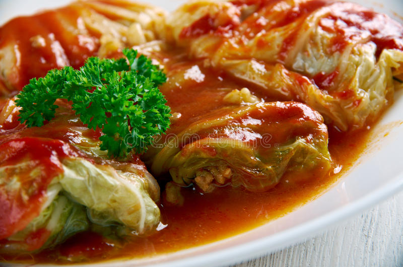 Sarma. Dish of grape, cabbage, monk's rhubarb or chard leaves rolled . cuisines of former Ottoman Empire from the Middle East to the Balkans and Central stock photo