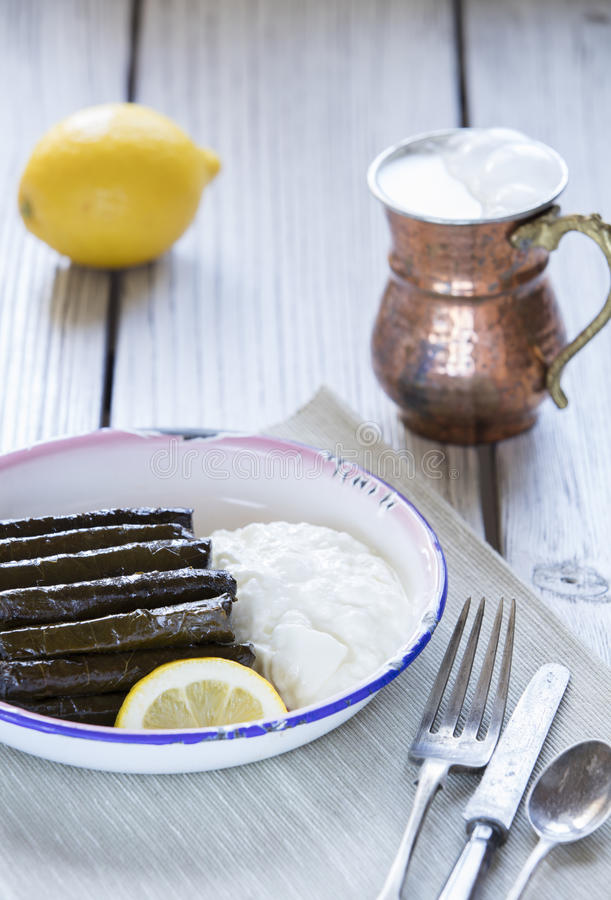 Sarma dish. Rice and mint wrapped in grape vine leaves stock photos