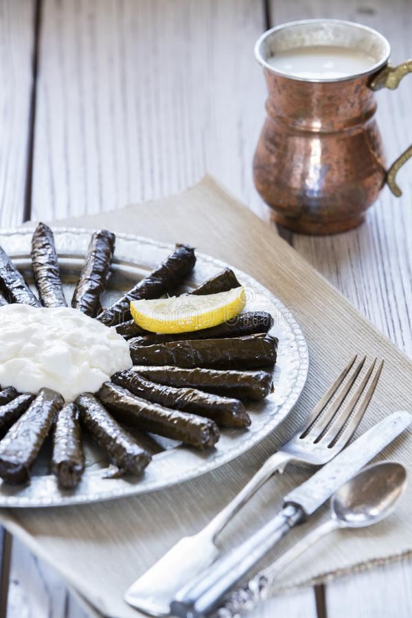 Sarma dish. Rice and mint wrapped in grape vine leaves royalty free stock photos