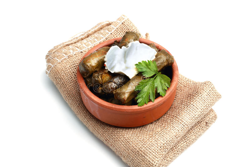 Sarma Dolma. Yaprak sarma, a food flavor in Turkish cuisine. Turkish cuisine, is one of almost every dish in the region stock image