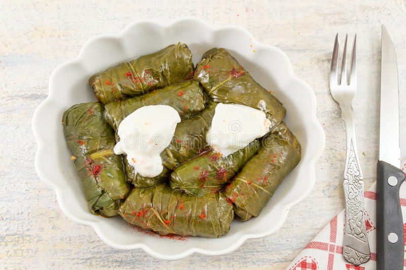 Sarma rolls in a plate covered with spices stock photo