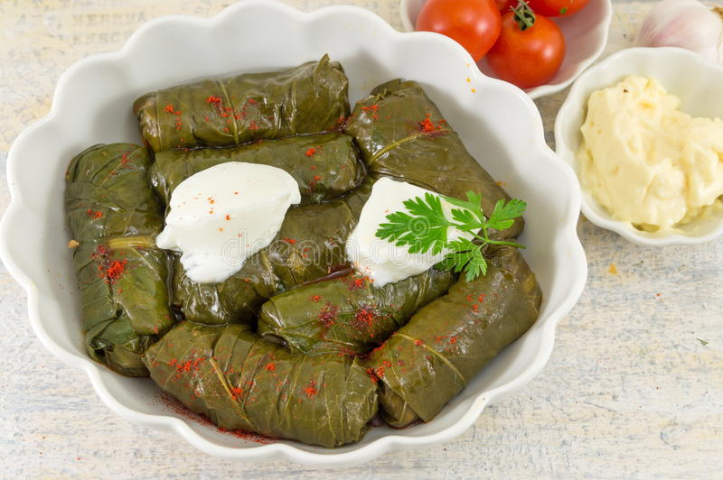 Sarma rolls in a plate covered with spices stock image