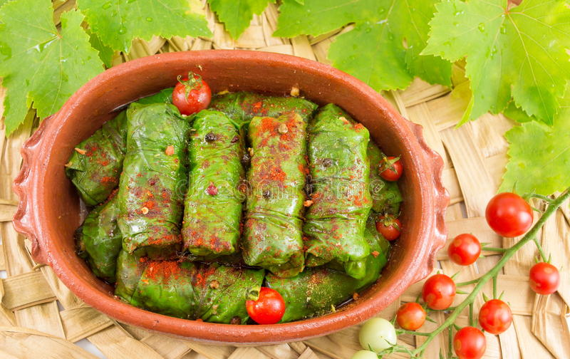 Sarma rolls in a traditional plate and cherry tomato royalty free stock photos