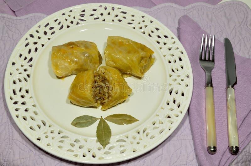 Sarma served on porcelain plate. Sarma, traditional meal, served on porcelain plate royalty free stock photography
