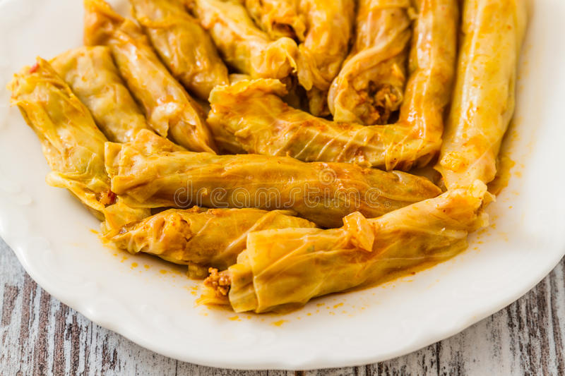 Sarma, Stuffed Cabbage Rolls. Sarma, Turkish traditional food, stuffed cabbage with rice and meat stock photos