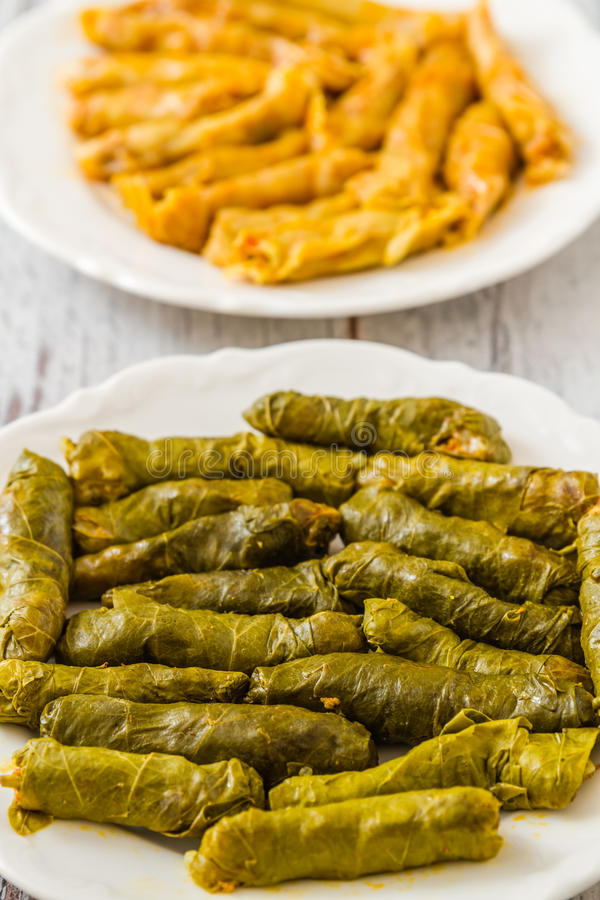 Sarma, Stuffed Grape and Cabbage Leaves. Turkish traditional food Sarma, stuffed grape and cabbage leaves on wooden white background stock photo
