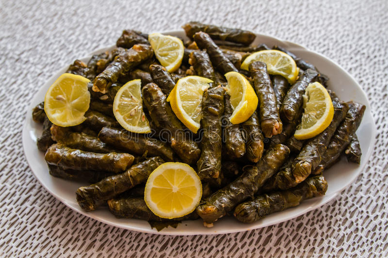 Sarma, Stuffed Grape Leaves. In a plate, traditional turkish cuisine royalty free stock photos