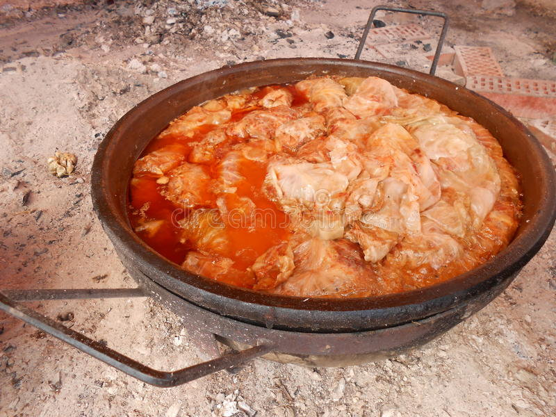 Sarma. Traditional specialty of Serbia, minced meat rolled in cabbage called sarma, cooked in a ceramic pot royalty free stock image