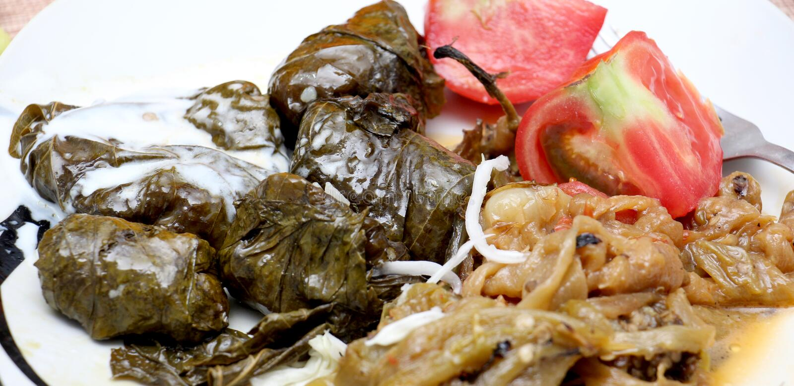 Sarma is a Turkish Traditional famous food on grape leaves. royalty free stock photo