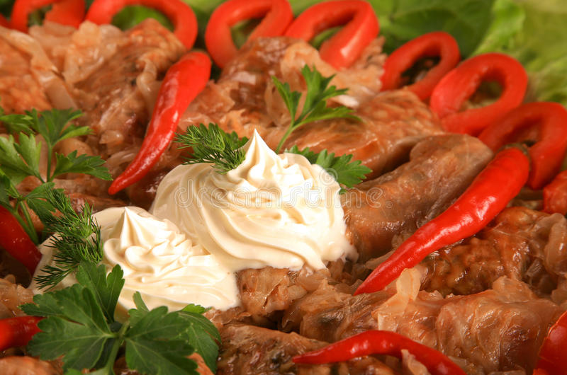 Sarmale, Roemeense keuken, gevulde cabage stock foto