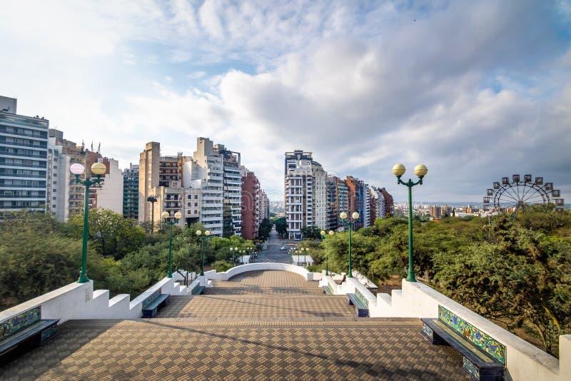 Sarmiento Park Stairs viewpoint Escaleras - Cordoba, Argentina royalty free stock image
