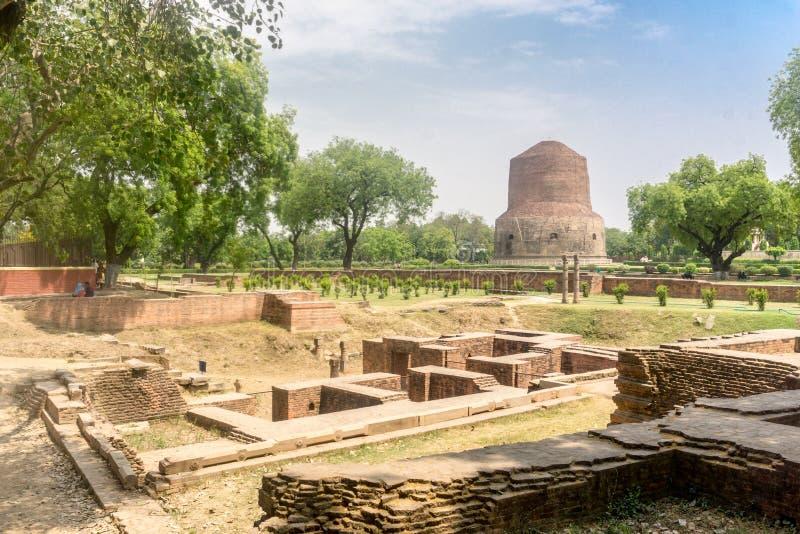 Sarnath precis förutom Varanasi, Indien royaltyfri fotografi