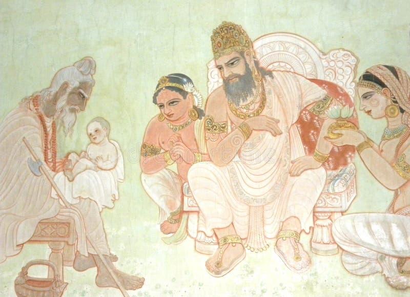 Sarnath Uttar Pradesh, Indien - November 1, 2009 forntida väggmålning av Lord Buddha som ett barn Gautama