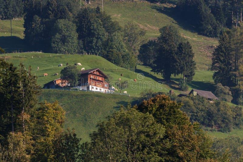SARNEN, SWITZERLAND/ EUROPE - SEPTEMBER 21: View of a Swiss chalet near Sarnen Obwalden in Switzerland on September 21, 2015 stock photo