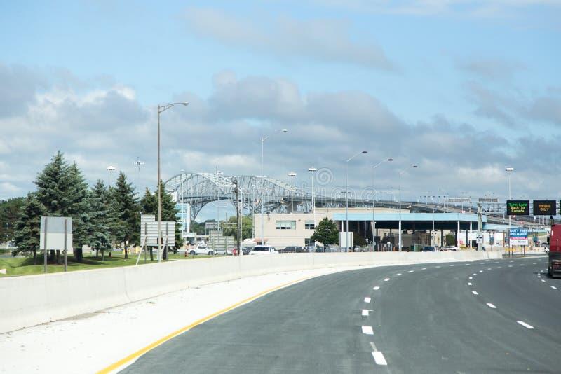 Sarnia Kanada USA gränsövergång arkivfoton