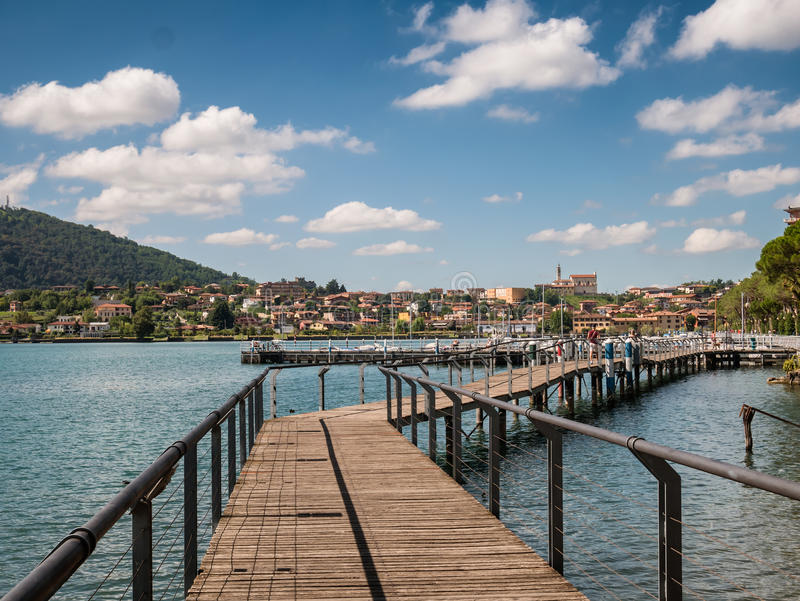 Sarnico at the lakeside of lake Iseo in Italy. Sarnico village at the lakeside of lake Iseo in Italy stock image