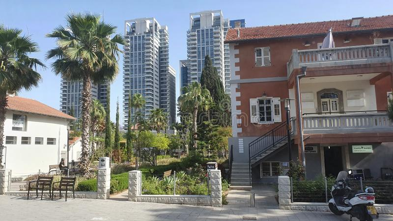 Saronaneibourhood in centrum stedelijk Tel Aviv Israël royalty-vrije stock foto