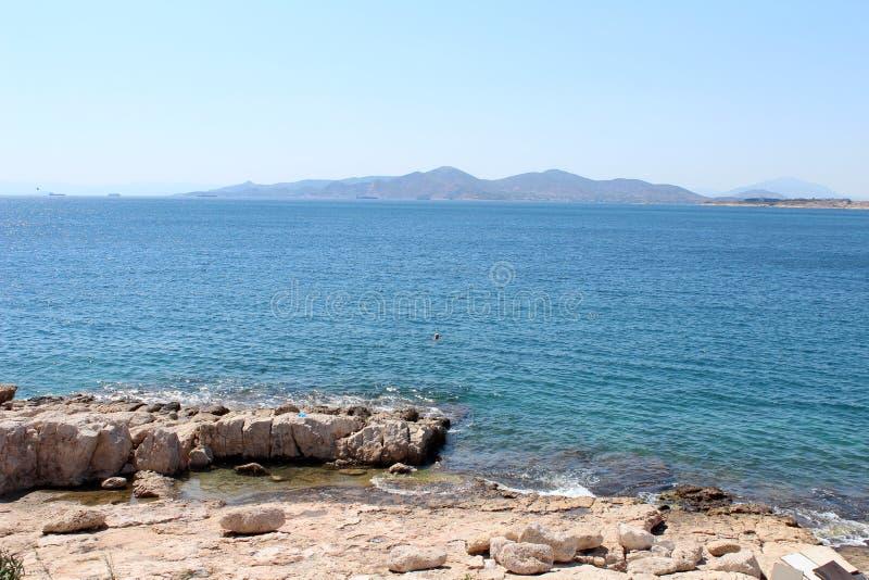 Saronic golfsikt i Piraeus, Grekland arkivfoton