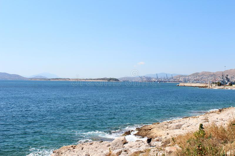 Saronic golfsikt i Piraeus, Grekland arkivfoto