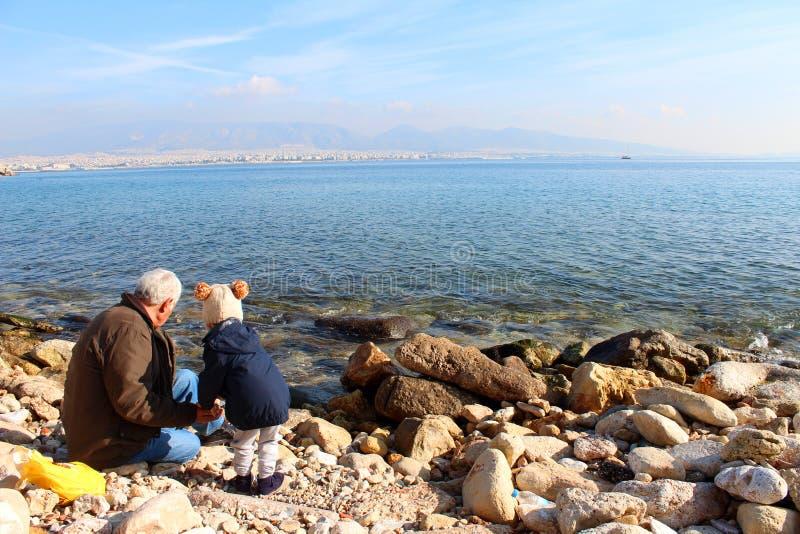 Saronic golfsikt i Piraeus, Grekland royaltyfri fotografi
