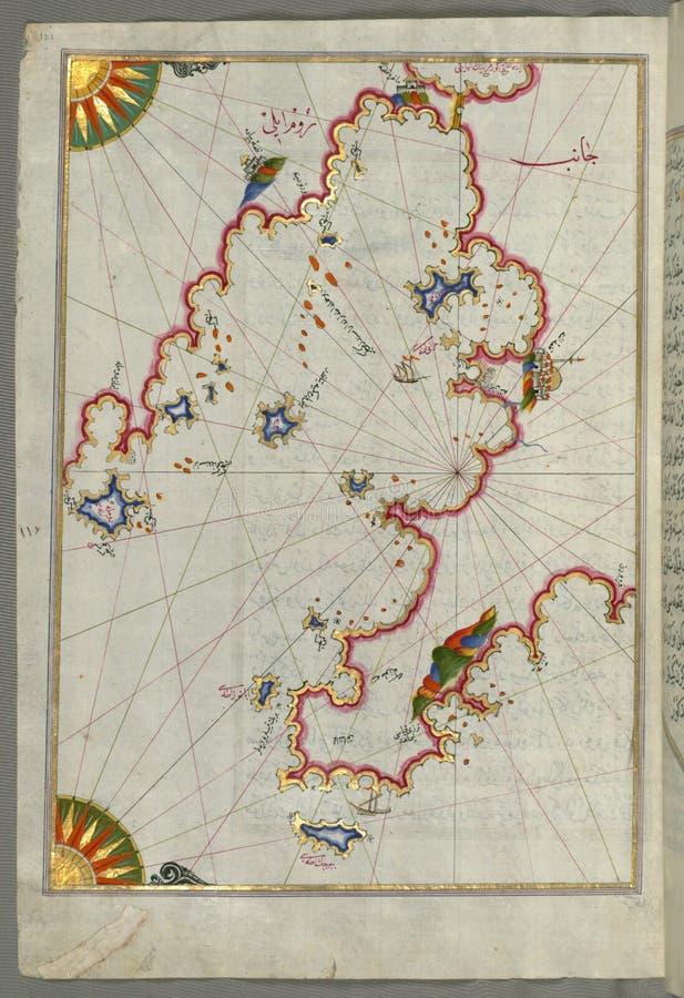 Загоренная рукопись залив Saronikos ( Atene) с городом Афин, от книги на навигации, искусство Museu Walters стоковая фотография rf
