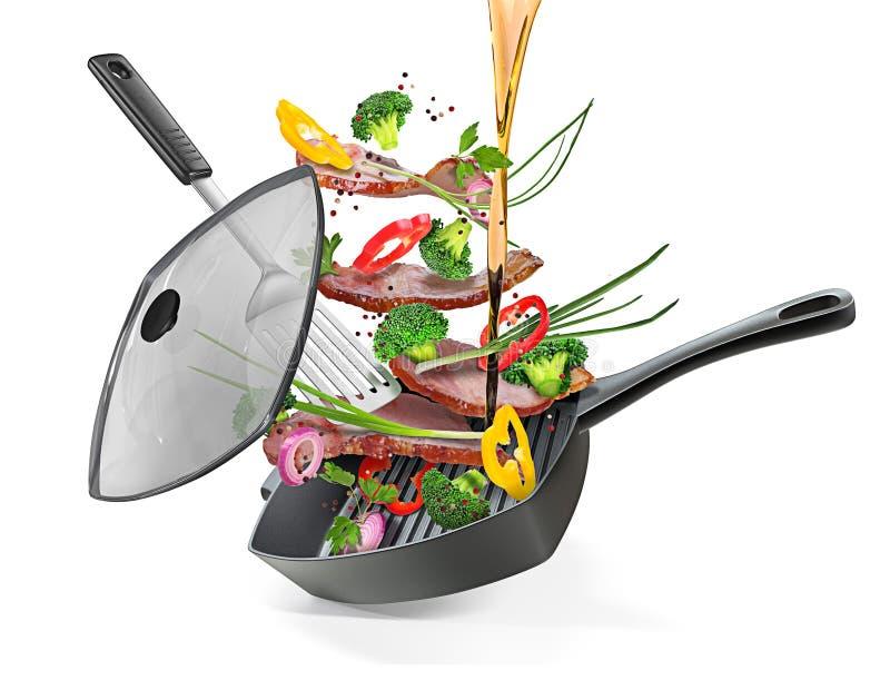 Sartén asado a la parrilla con el tocino y las verduras aislados en b blanco imagen de archivo libre de regalías