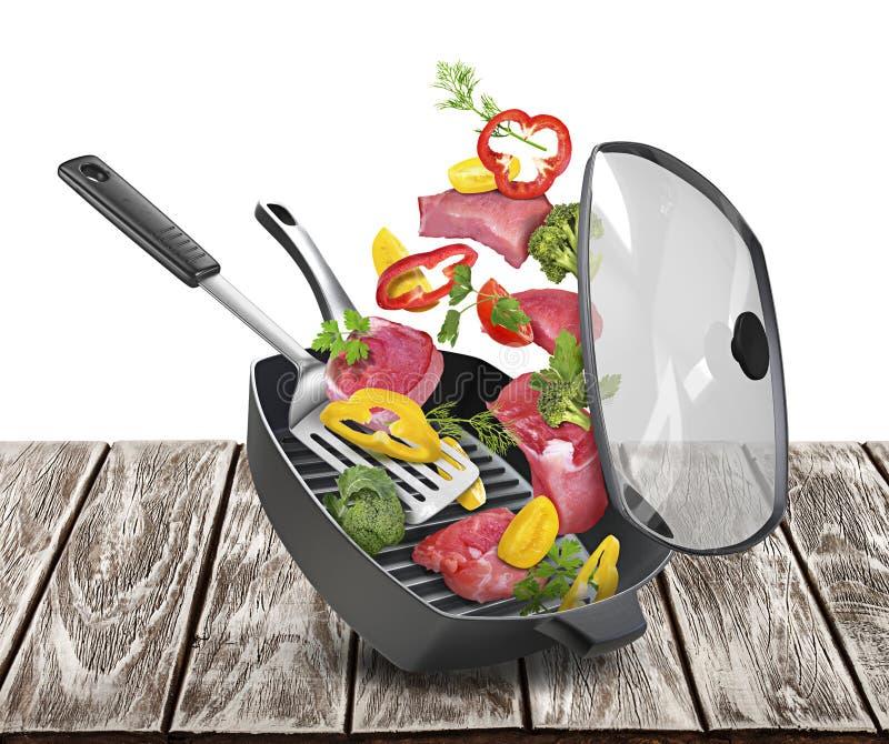 Sartén con la carne y las verduras aisladas en el fondo blanco foto de archivo