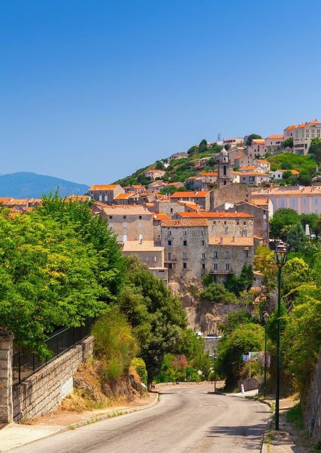 Sartene, île de Corse, France Paysage urbain vertical image libre de droits