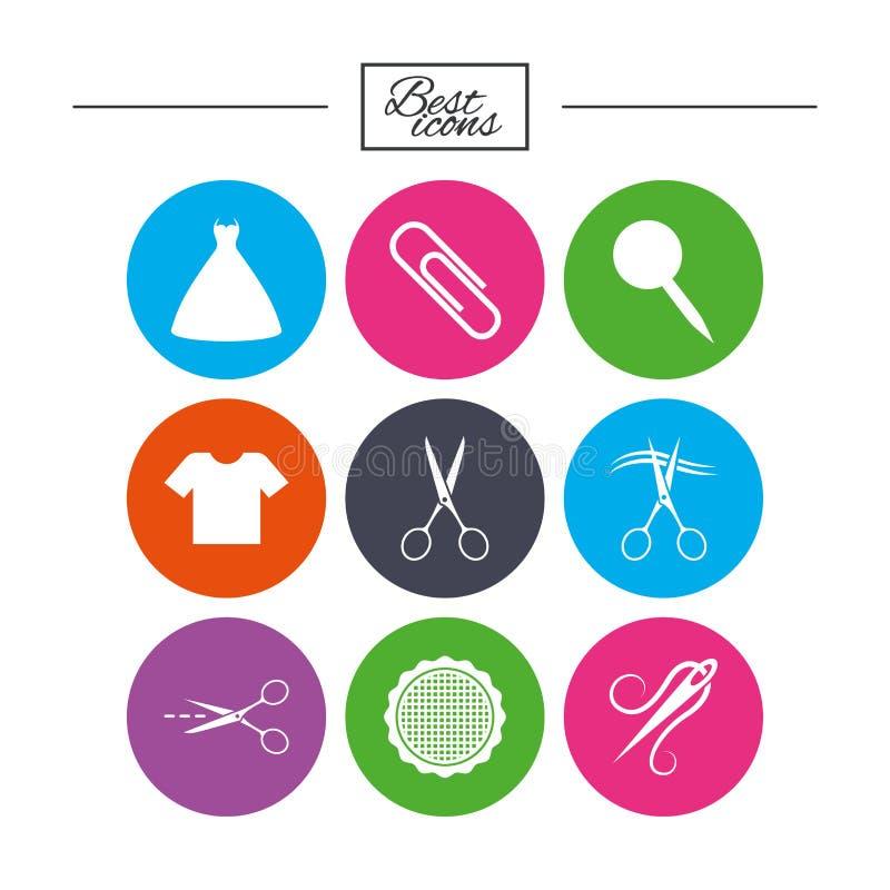 Sarto, cucire ed icone del ricamo Forbici illustrazione di stock