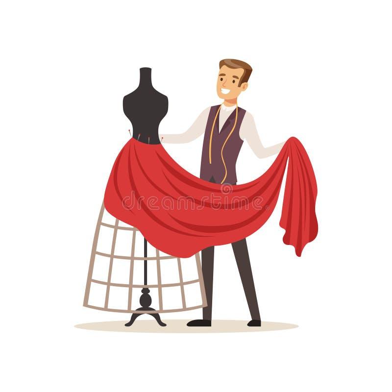 Sarto da donna maschio che cuce vestito rosso sull'sarti da donna manichino, progettista dell'abbigliamento o sarto che lavora al illustrazione di stock