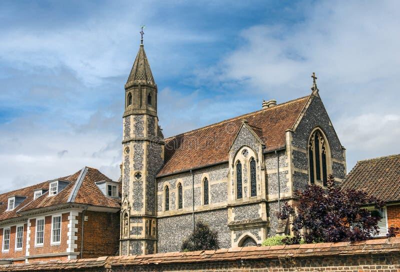 Sarum College and Cathedral Close, Salisbury, England. SALISBURY, UNITED KINGDOM - August 03, 2015: Sarum College on August 03, 2015 in Salisbury, South England royalty free stock photography