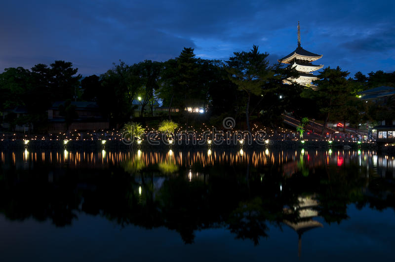 Sarusawaike Pond during Nara tokae lantern festival stock photos