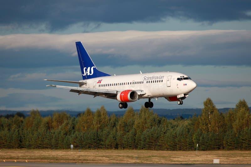 SAS斯堪的纳维亚航空公司波音737-500 免版税图库摄影