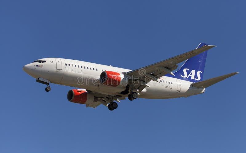 SAS Боинг 737-700 стоковая фотография rf