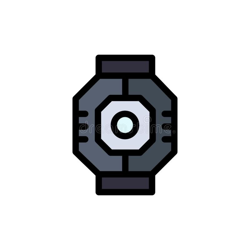 Sas, capsule, composant, module, icône plate de couleur de cosse Calibre de bannière d'icône de vecteur illustration libre de droits