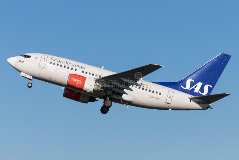 SAS Scandianvian flygbolag Boeing 737-600 arkivfoto