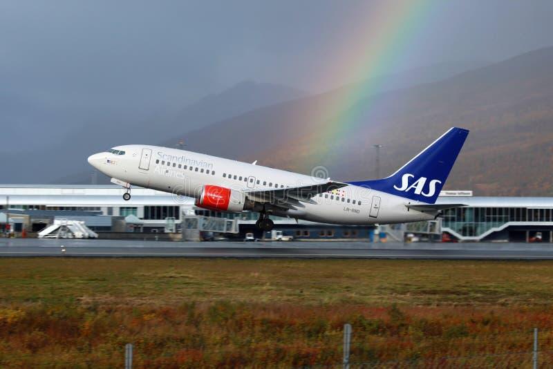 SAS Skandinavische Luchtvaartlijnen Boeing 737-700 royalty-vrije stock afbeeldingen