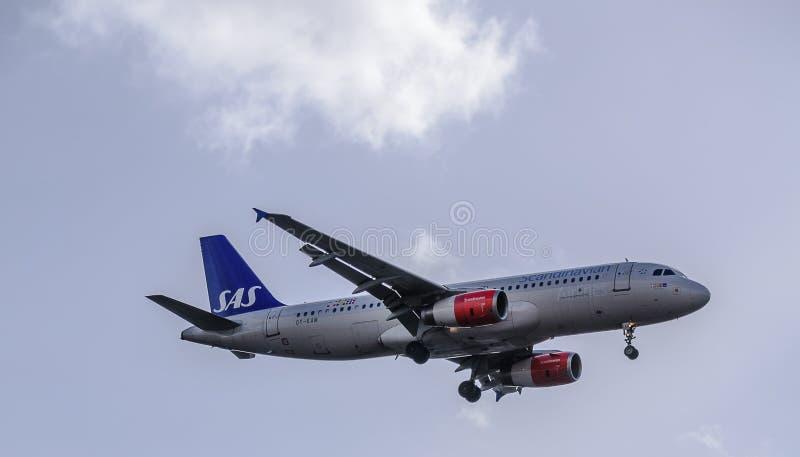 SAS str?llandning p? Heathrow royaltyfria bilder