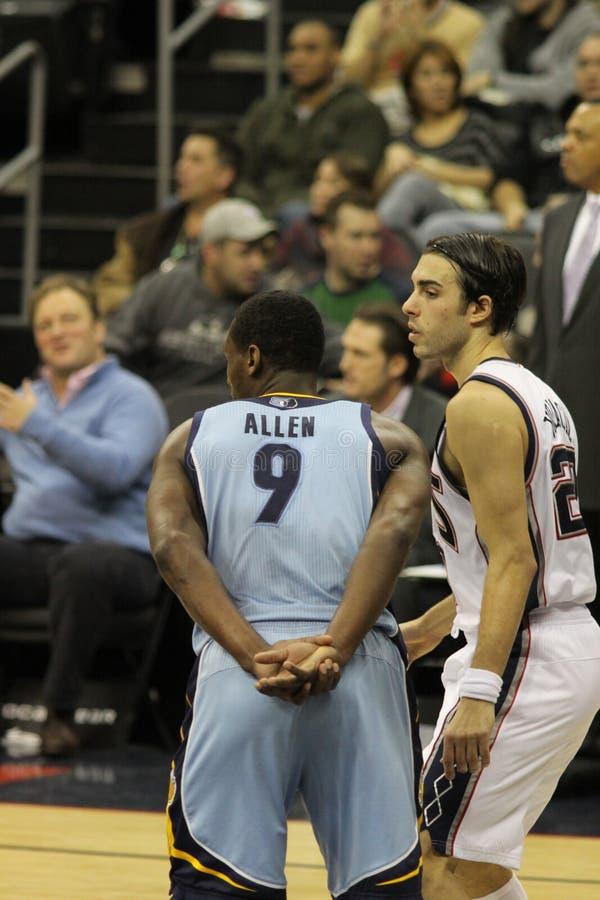 Sasha Vujacic & Tony Allen. New Jersey Nets v Memphis Grizzlies, Prudential Center in Newark, 26/01/2011 stock image