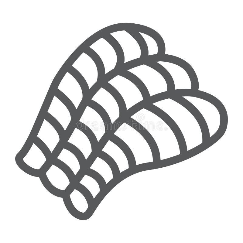 Sashimi το εικονίδιο γραμμών, Ασιάτης και τα τρόφιμα, σούσια υπογράφουν, διανυσματική γραφική παράσταση, ένα γραμμικό σχέδιο σε έ διανυσματική απεικόνιση