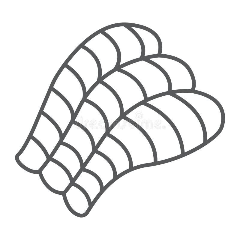 Sashimi το λεπτοί εικονίδιο γραμμών, Ασιάτης και τα τρόφιμα, σούσια υπογράφουν, διανυσματική γραφική παράσταση, ένα γραμμικό σχέδ ελεύθερη απεικόνιση δικαιώματος