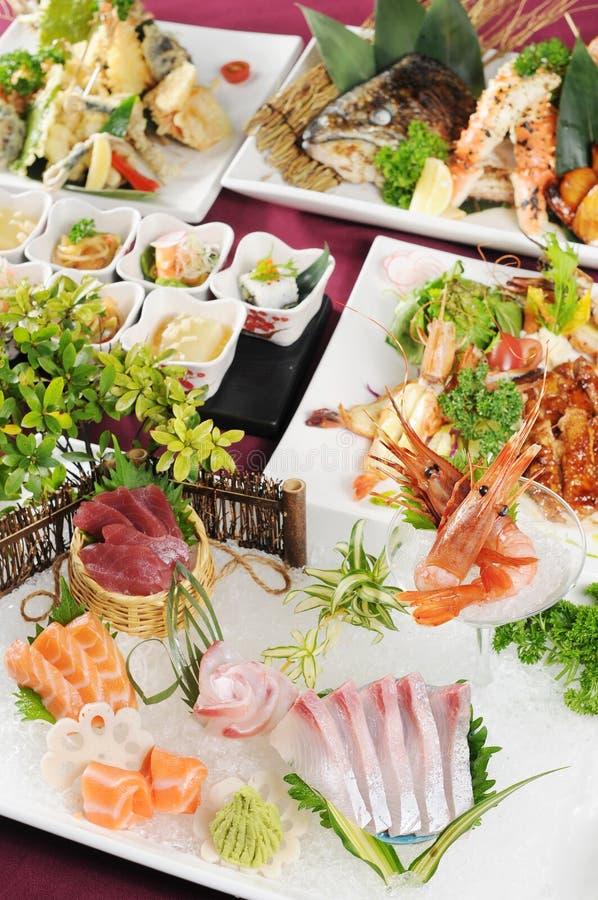 Sashimi. Japanese sashimi on a white dish royalty free stock photo