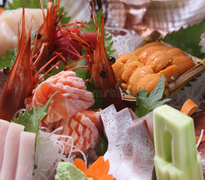 Sashimi. Delicous japanese food, sashimi by tuna,shrimp,wasabi,salmon stock photo