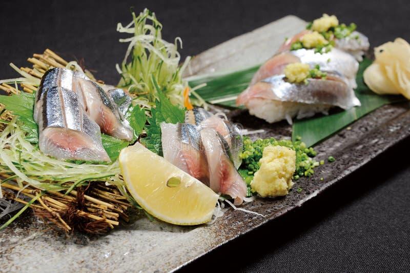 Sashimi. Japanese sashimi on a white dish stock images
