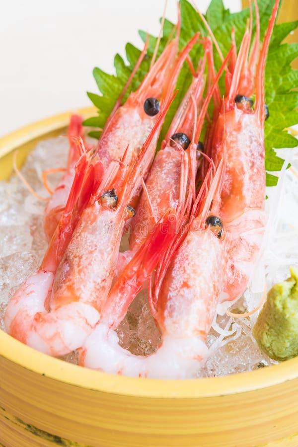 Sashimi crudo y fresco del camarón foto de archivo